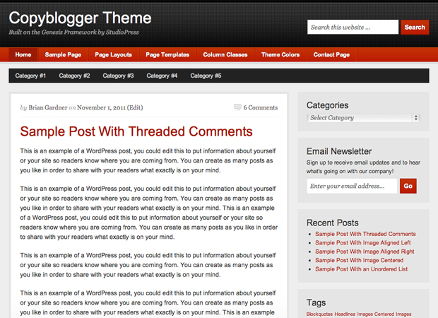 image of copyblogger theme for wordpress