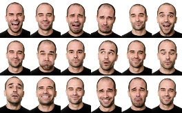 image of man's face showing many emotions