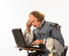 image of shakespeare using a laptop